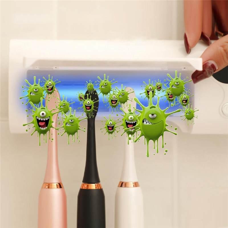 Stérilisateur UV pour brosse à dent. Support mural. Batterie rechargeable intégrée