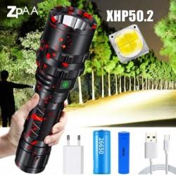 Torche LED à LED Xhp50.2 rechargeable USB